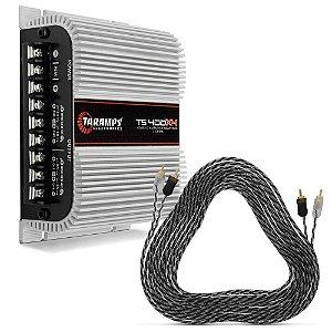 Módulo Amplificador Taramps TS400 400W + Cabo RCA Duplo 5 Metros Banhado a Ouro
