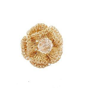 Anel Flora de Crochê em Metal Artesanal Heliana Lages