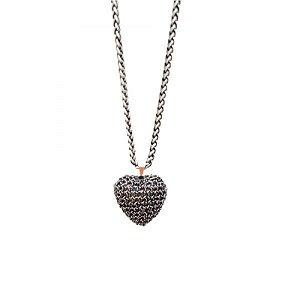 Colar Heart de Crochê em Metal Artesanal Heliana Lages