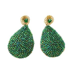 Brinco Green Glam Crochê em Metal Artesanal Heliana Lages
