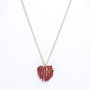 Colar Heart Bordado Crochê em Metal Artesanal Heliana Lages