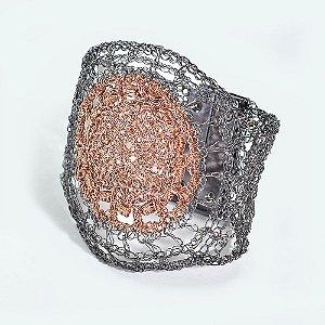Pulseira Mandala de Crochê em Metal Artesanal Heliana Lages