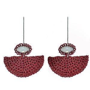 Brinco Leque de Crochê em Metal Artesanal Heliana Lages