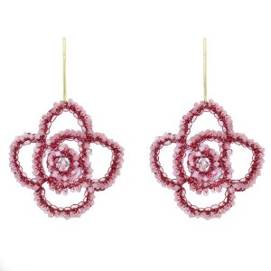 Brinco Rosalia de Crochê em Metal Artesanal Heliana Lages