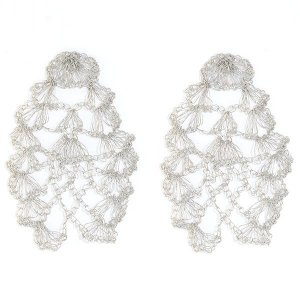 Brinco Renda de Crochê em Metal Artesanal Heliana Lages