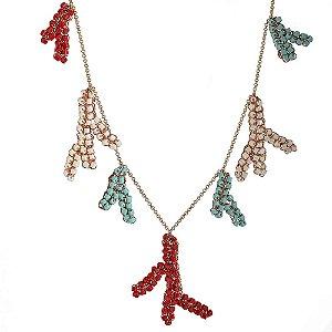 Colar Coral Day de Crochê em Metal Artesanal Heliana Lages
