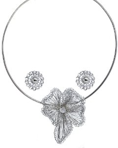 Conjunto Orquídea de Crochê em Metal Artesanal Heliana Lages