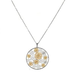 Conjunto Medalha Flores de Crochê em Metal Heliana Lages 18K