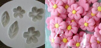 Molde de silicone Flores do campo - (1,2;1 e 0,8cm)