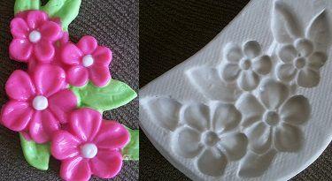 Molde de silicone Flor do campo e folhas -4636 (6,5cm)