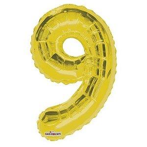 Balão Metalizado Minishape Regina N9 Dourado