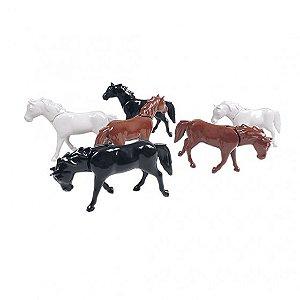 Conjunto de 6 Cavalos Poliplac Coloridos