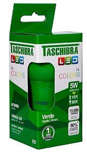 Lâmpada Led Taschibra Tkl Colors E-27 5W Verde