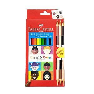 Lápis de Cor Ecolápis 12 cores +3 Caras e Cores