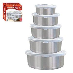 Conjunto de Potes Art House Redondo em Inox 5 Pçs