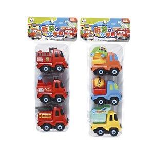 Brinquedos Pica Pau Mini Caminhões Monte Desmonte Kit Com 3 Unidades