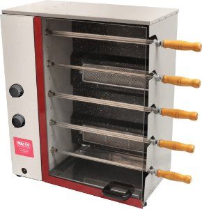 Churrasqueira Rotativa a Gás Vertical com 5 Espetos - MALTA - Ref1051