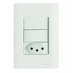 Interruptor Simples 2tc + Tomada 2P+T 20A 250V - Giz Br - Tramontina
