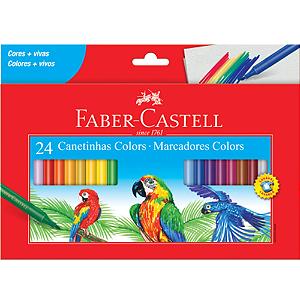Caneta Hidrocor 24 Cores Lavável - Faber Castell