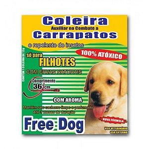 Coleira Cães Filhotes Anticarrapatos 36cm Free Dog