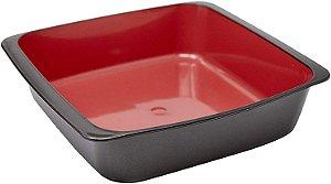 Travessa Quadrada Plasútil Duo Chef  360 Preta com Vermelho 1.5L