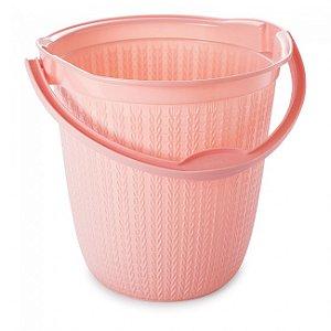 Balde Plástico Plasútil Trama Rosa 8L