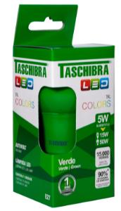 Lâmpada Led Taschibra Tkl Colors E-27 5W Verde