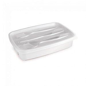 Porta Talheres Plástico Plasútil Com Tampa 1.3L