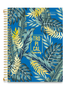 Caderno Universitário 10m 160F Cd Cadersil Tropical Leaves