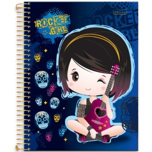 Caderno Univ 10m 200F Cd Cadersil Rocker Girl