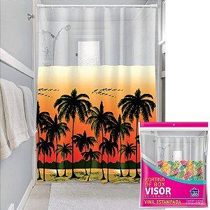 Cortina Box Visor Transparente Plast Leo Coqueiros