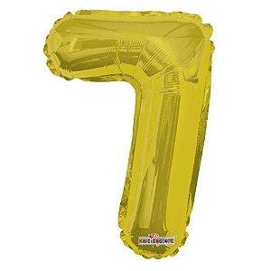 Balão Metalizado Minishape Regina N7 Dourado