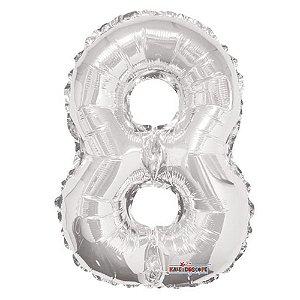 Balão Metalizado Minishape Regina N8 Prata