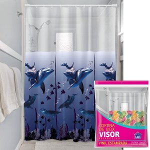Cortina Box Visor Transparente Plast Leo Golfinhos