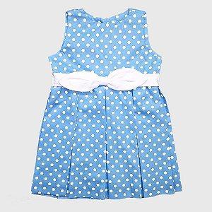 Vestido Doc Kids Sabrina II Poá Branco e Poá Azul