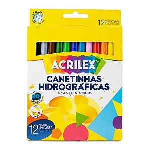 Canetinhas Hidrográficas com 12 Cores - Acrilex