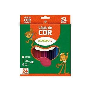 Lápis de Cor 24 Cores Plástico Sextavado Flex Leo & Leo