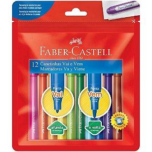 Caneta Hidrográfica 12 cores ponta vai e vem Faber Castell