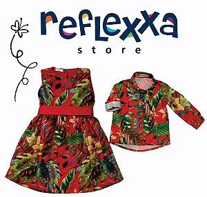 Conjunto Floresta Tal Pai, Tal Filha (Camisa manga longa & Vestido infantil)