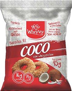 Biscoitos Fit Coco com Whey Protein - 45g - WheyViv