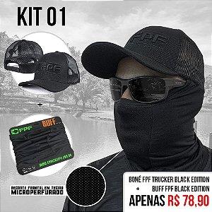Kit 1 - Boné Fpf Trucker Black Edition +Buff Fpf Black Edition