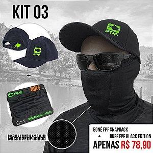 Kit 3 - Boné Fpf Snapback   +Buff Fpf Black Edition