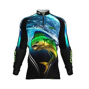 Camisa de Pesca Fpf Proteção Solar Dourado Azul