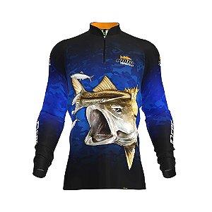 Camisa de Pesca Fpf Proteção Solar Robalo Camuflado Azul