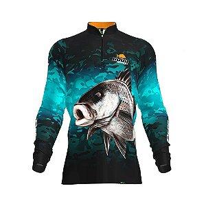 Camisa de Pesca Fpf Proteção Solar Sargo Camuflado Verde Água