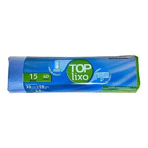 Saco de Lixo Extra 15 Litros Azul Rolo Com 60 Unidades