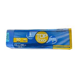 Saco de Lixo Extra 50 Litros Azul Rolo Com 30 Unidades