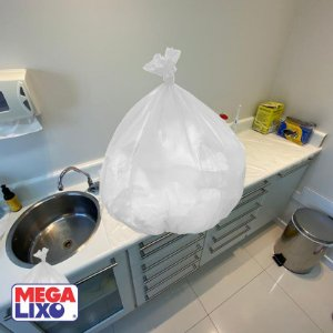 Saco de Lixo Pia & Banheiro Branco C/ 100 Unidades