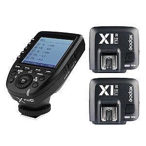 Rádio Flash Godox X Pro C Para Canon TTL/Multi - Transmissor com 2 Receptores X1R-C