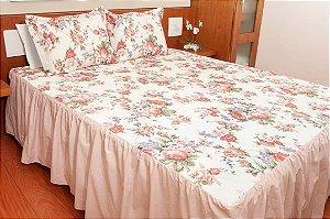 Colcha Lençol Cris Rosé para Cama de Casal 3 peças 160 fios 100% algodão